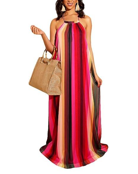 284b416e1c3f2 Salimdy Women's Sleeveless Halter Neck Maxi Dress Vintage Floral Print  Backless Beach Long Dresses