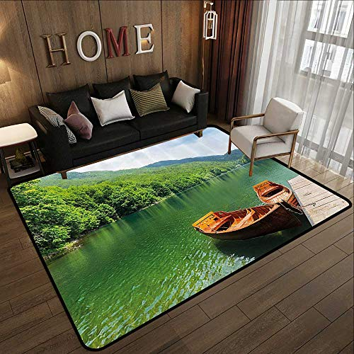 All Weather Floor mats,Nature,Boats on The Lake by Forest Surreal Serene in Woodland Paastoral Landscape,Fern Green Cinnamon 47