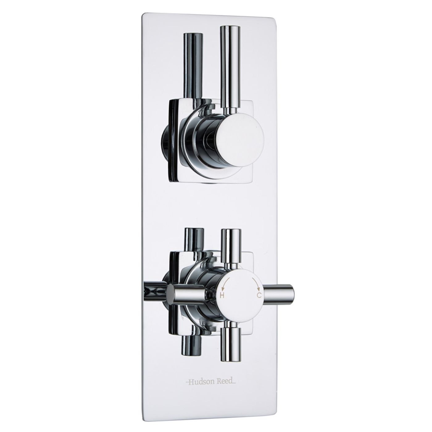 Hudson Reed - Tec Thermostatic 2 Outlet Twin Shower Faucet Diverter Valve in Chrome Plated - Concealed Thermostat - Slim Trim Plate & Round Lever Control - Solid Brass Body