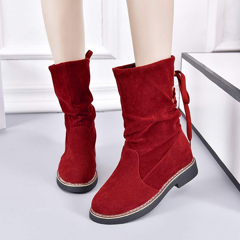 Londony ♪✿ Clearance Sales,Fashion Calf Flat Heel Pleated Slouch Lace Up Round Toe Ankle Boots Low Heel Boot