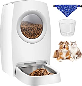 OKMEE Automatic Cat Feeder, Dog Food Dispenser with Stainless Steel Tray, LCD Control Panel, Voice Recorder, Portion Control and Programmable Timer for up to 4 Meals per Day– Cup and Bib Included