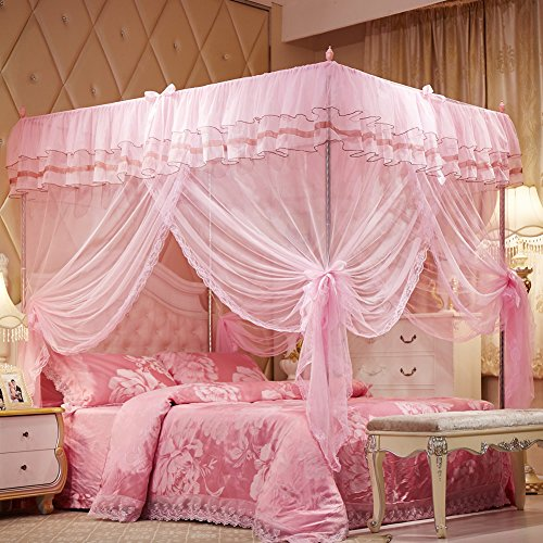 Uozzi Bedding Mosquito Net Bed Canopy-Lace Luxury 4 Corner Square Princess Fly Screen, Indoor Outdoor(Pink, Twin)