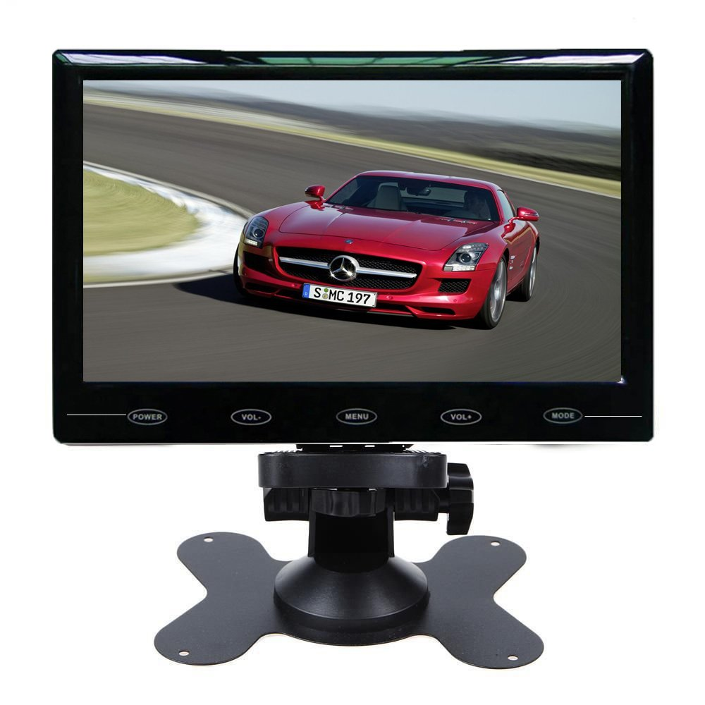 PONPY 7'' Ultra Thin HD 1024x600 Color TFT LCD Screen 2 Channel RCA Video Input Car Rear View Headrest Monitor for Car DVD/VCR/STB/Backup Camera/Satellite Receiver