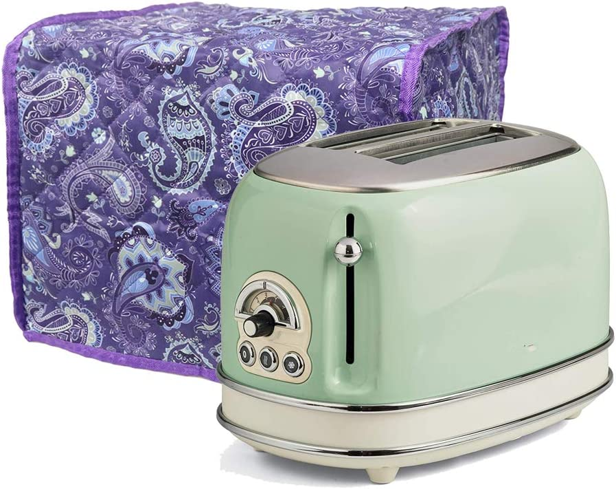 Cotton Quilted Dust-proof Toaster Cover Anti Fingerprint Protection For Toaster Appliance Cover - Machine Washable CYFC15 purple floral