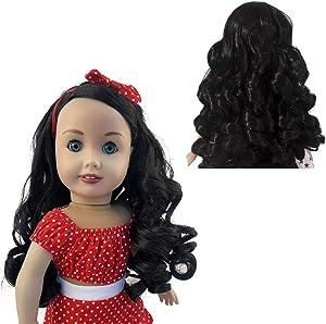 MUZI WIG Doll Hair Wig, Long Wavy Heat Resist Doll Wigs for 18'' American Dolls (1B)