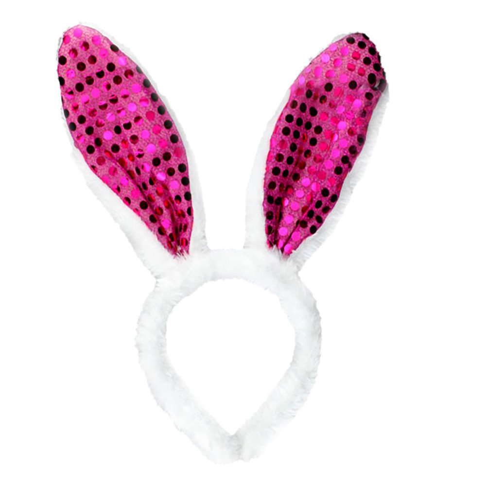 Easter Adult Children Sequins Hairband Rabbit Ear Headband Hairband Accessories(3-Hot Pink,Freesize)