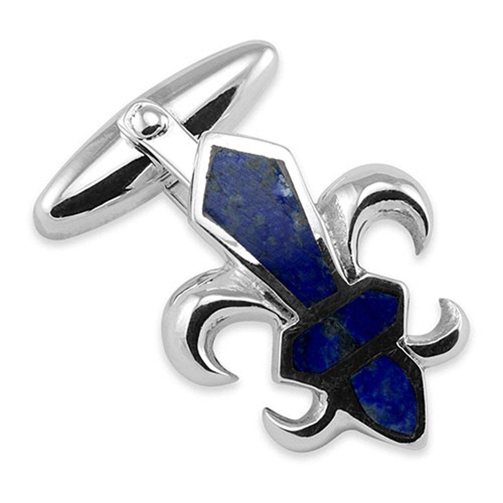 Sterling Silver Fleur De Lys Lapis Cufflinks Tie Clip Box Set