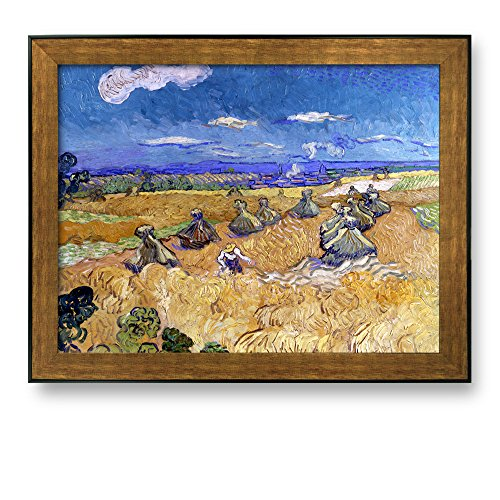 Wheat Fields with Reaper Auvers by Vincent van Gogh Framed Art Print Famous Painting Wall Decor Bronze and Black Frame
