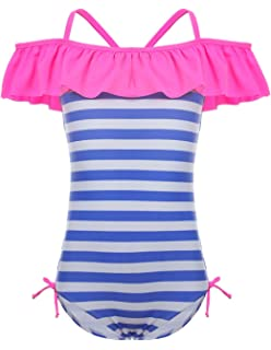 96703877a67 LEINASEN Kids Ruffles Off Shoulder Stripe One Piece Bathing Suit for Girls