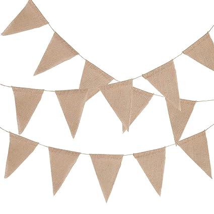 Wimpel Hessischen Girlande Rustikal,Farbenfroh Wimpeln f/ür Drau/ßen Hochzeit Jeteven 10m 48 Flags Wimpelkette Hochzeit Vintage Herz Jute Bunting Banner