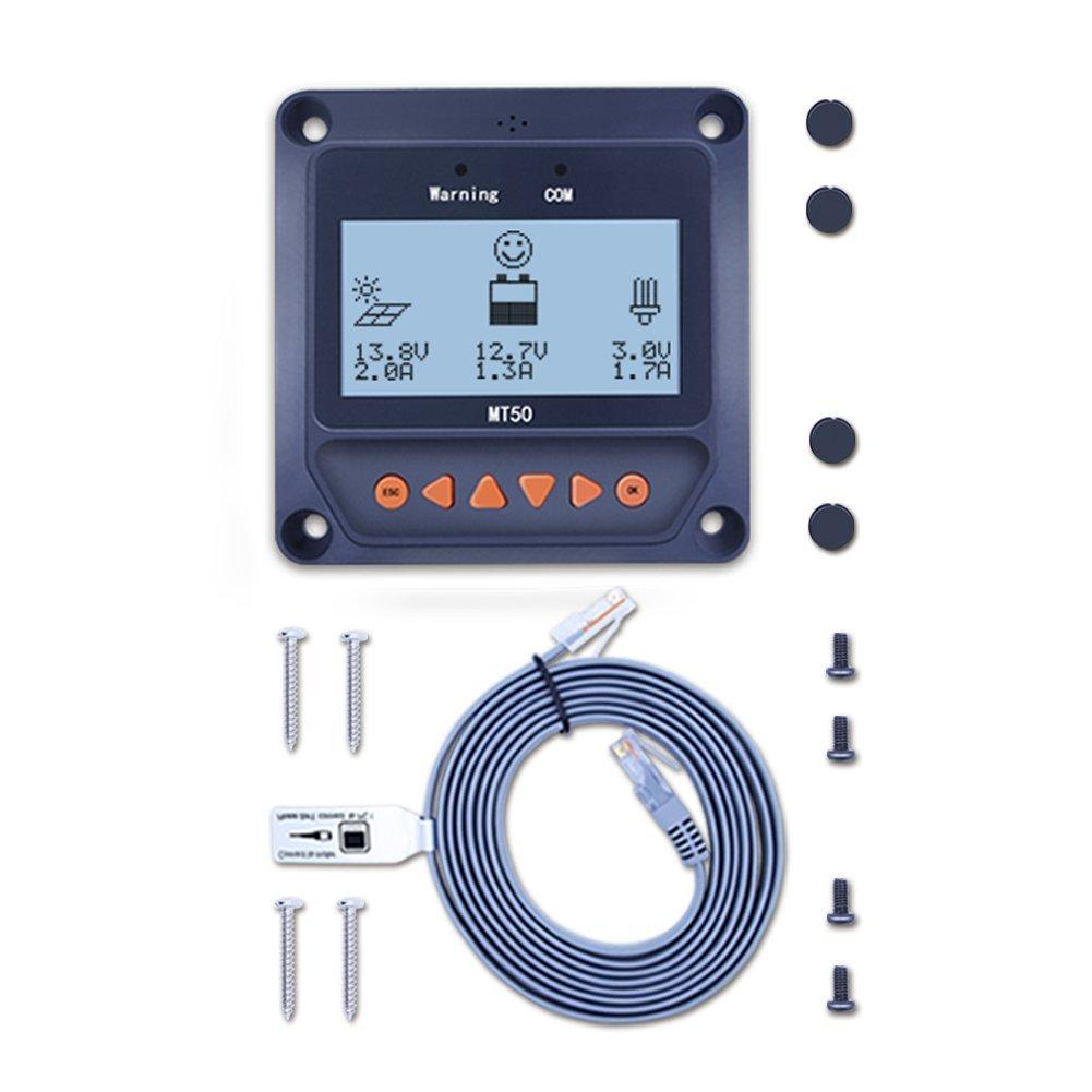 Regulador de carga solar de Qaurora, MPPT Tracer serie A (10A/20A/30A/40A) con sistema de identificación automática del voltaje 12 V o 24 V CC, MT50
