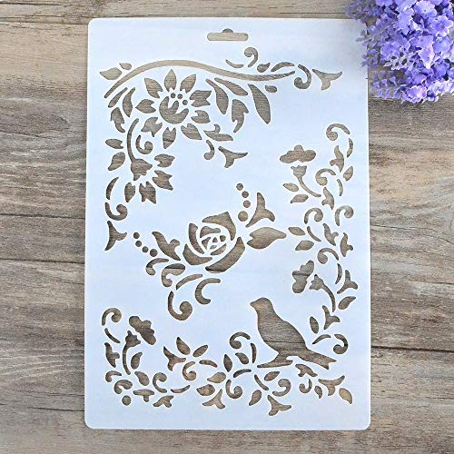DIY Decorative Stencil Template for Painting on Walls Furniture Crafts (Bird Flower)