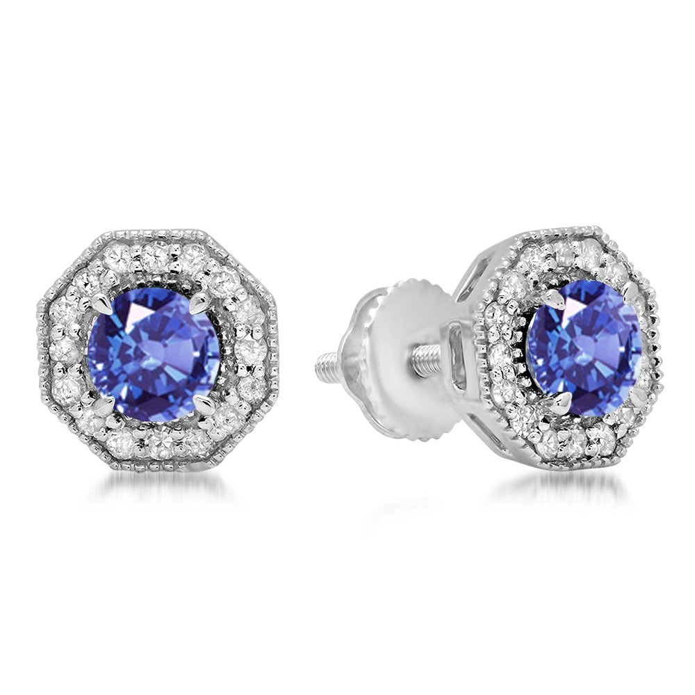 10K White Gold Round Cut Tanzanite & White Diamond Ladies Halo Style Stud Earrings by DazzlingRock Collection