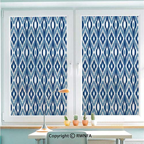 Decorative Window Films Kitchen Glass Sticker Ethnic Ikat Design with Regular Multi Shaft Loom Uneven Twill Trend Motif Decorative Waterproof Anti-UV for Home and Office 22.8