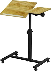 Echaprey Laptop Desk Overbed Bedside Table Height Adjustable with Wheels Laptop Computer Stand Cart Sofa Couch Side Table