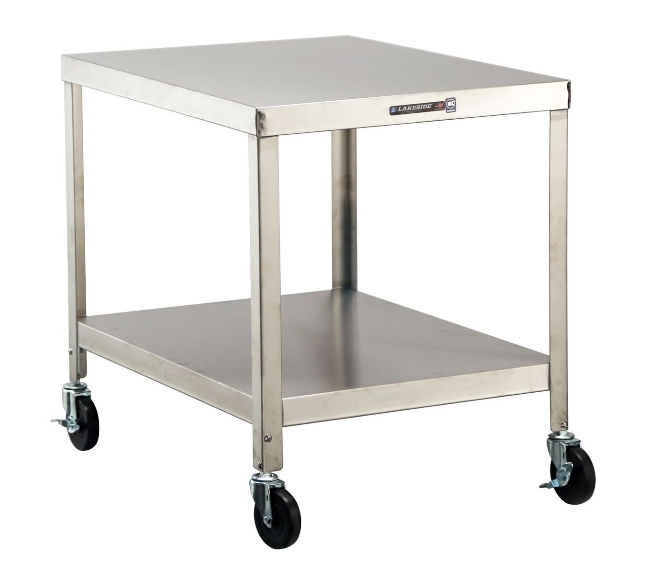 Lakeside 518 NSF-Mobile Machine Stand, Stainless Steel, 2 Shelves, 29.18'' Height, 33.25'' width, 33.25'' Length