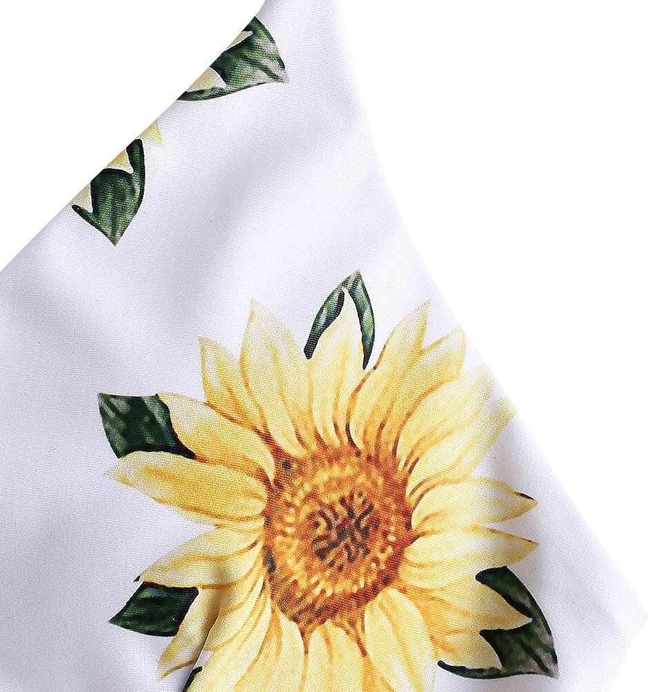 Spaghetti Straps Padded Bikini Set ZAFUL Womens Sunflower Print Bikini Set Lace-Up