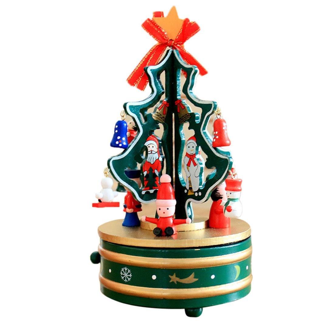 Alonea Rotating Music Christmas Tree Christmas Gift Music Box Indoor Decoration (B)