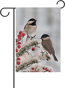 ALAZA Double Sided White Black Tow Cute Chickadees in Winter Snow Polyester Garden Flag Banner 12 x 18 Inch for Outdoor Home Garden Flower Pot Decor