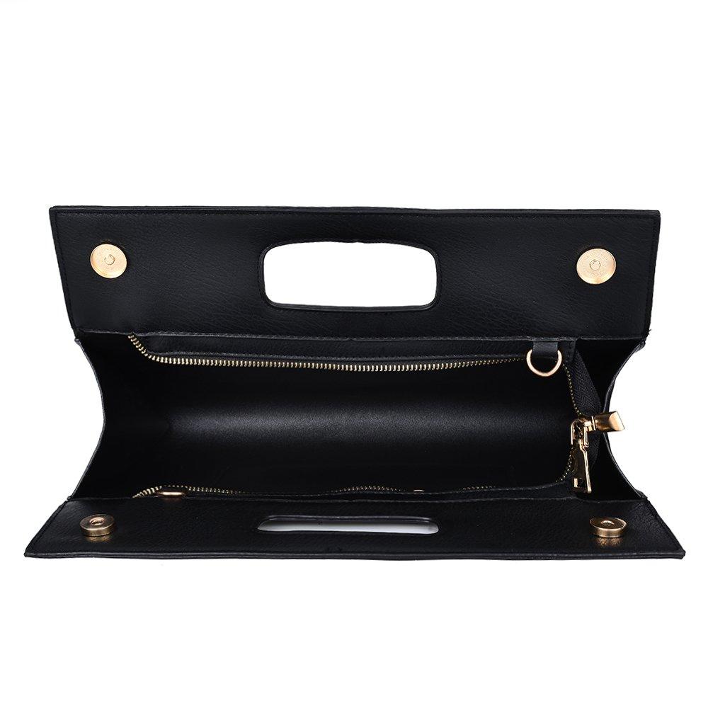 VRLEGEND Leather Top Handle Handbags Crossbody Shoulder Bag Tote Wallet Purse Evening Clutch Bag for Women (Black) by VRLEGEND (Image #3)