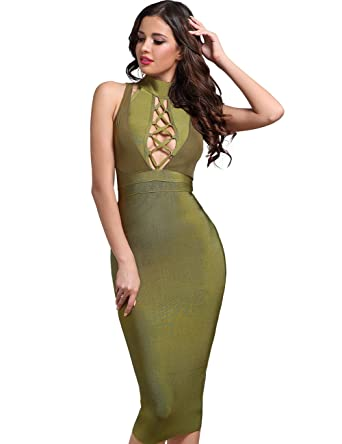 Adyce Bandag-Dress-XS Green High Neck Lace Up Halter Sexy Bodycon Cocktail Dress