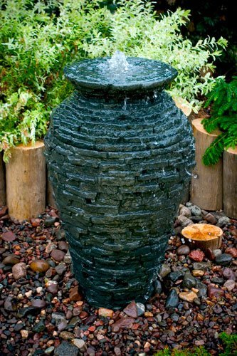 Aquascape 98939 Small Stacked Slate Urn Fountain for Landscape and Gardens, 32 Inches Tall by Aquascape