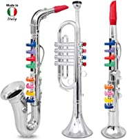 Click N' Play Set of 3 Musical Instruments for Kids Trumpet Saxophone and Clarinet with Keys – Metallic Silver
