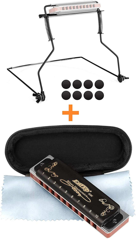 Eison 10 Holes Harmonica Holder, Harmonica C with 10 Hole 20 Tone,Black Color