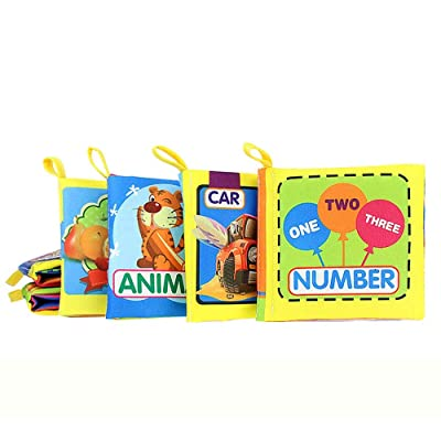 Haoyushangmao Cloth Baby Book Intelligence Development Educational Toy Soft Cloth Learning Cognize Books for 0-24Months Kids Quiet Book (Color : Random) : Baby
