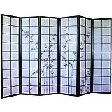 Paravento giapponese in legno nero con disegno in bambù di 6 pannelli