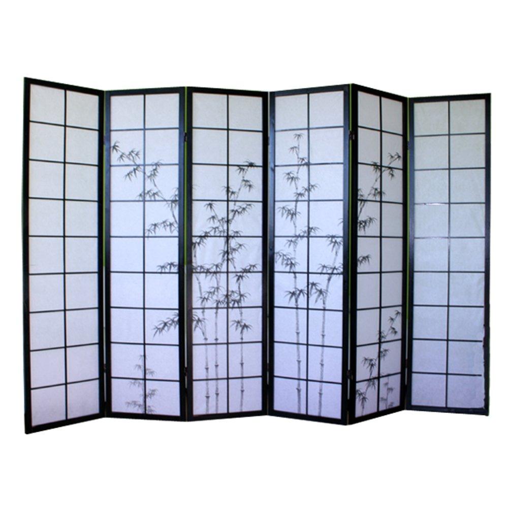 PEGANE Paravento giapponese in legno nero con disegno in bambù di 6 pannelli