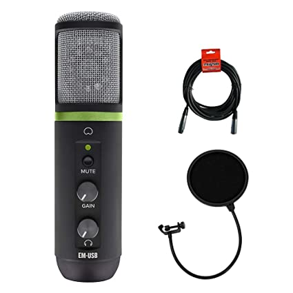 Mackie EM-USB USB Recording Microphone w//Interface+Headphones+Stand+Cable