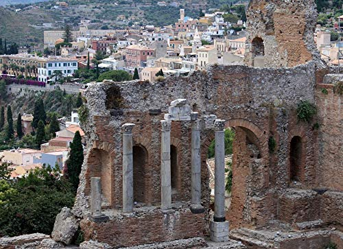 Home Comforts Peel-n-Stick Poster of Sicily The Amphitheater Taormina The Ruins of The Vivid Imagery Poster 24 x 16 Adhesive Sticker Poster - Ruins Amphitheater