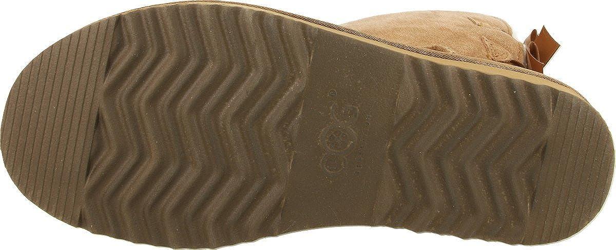 OOG Damen Leder Schlupfstiefel   warme gefütterte Double-Bow-Stiefel Double-Bow-Stiefel Double-Bow-Stiefel `Short´ Stiefeletten   Winter-Schneestiefel mit Zwei Schleifen ae3c70