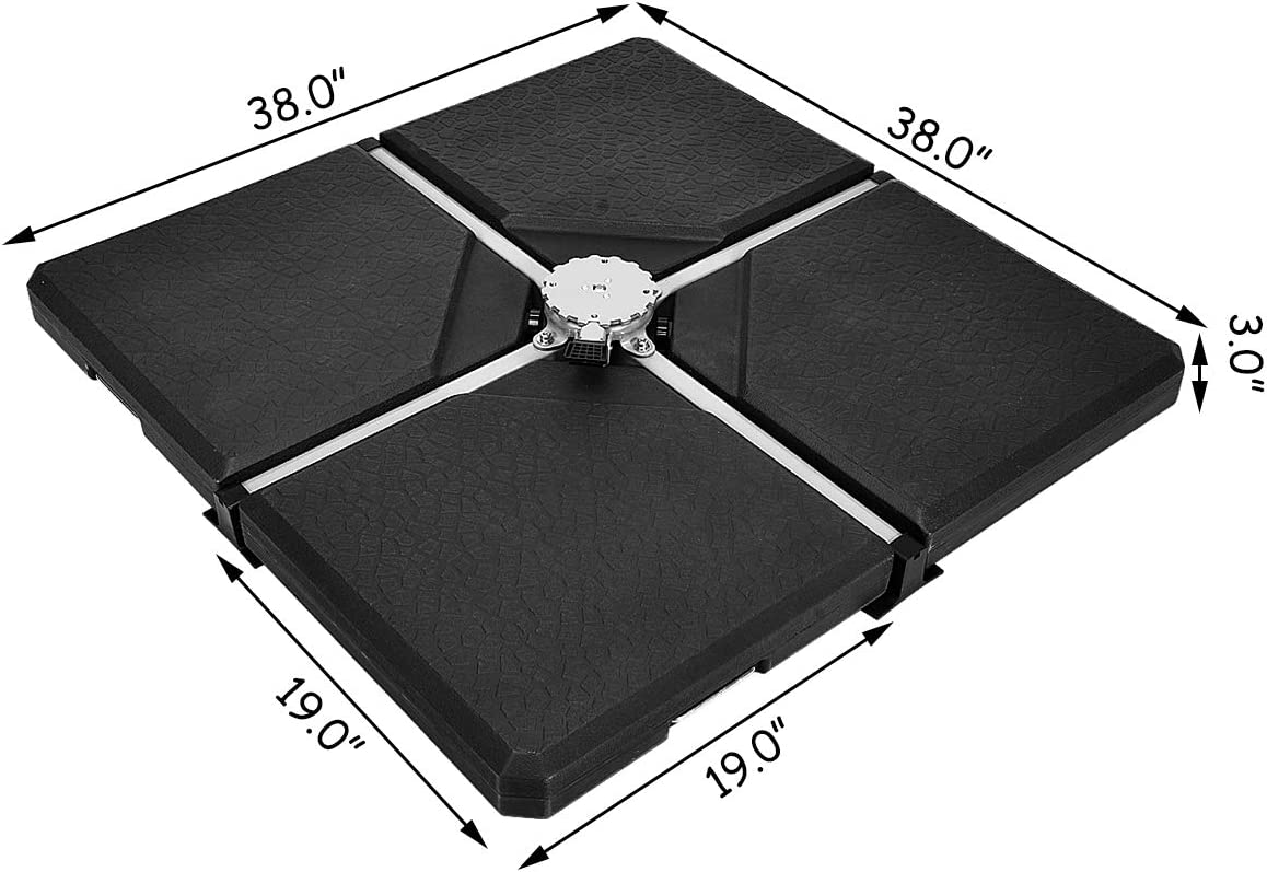 Tangkula 4PCS Patio Cantilever Offset Umbrella Base Weight Stand 238lbs Square Shaped Sand//Water Filled Weight 38 x 38 Umbrella Base 4-Piece Outdoor Umbrella Base Plate w//Heavy Duty Plastic