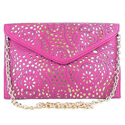 Rose Leather Clutch Chain Bag Gold Cut Vincenza Laser Vintage Shoulder Ladies Evening Envelope WzYnqT7