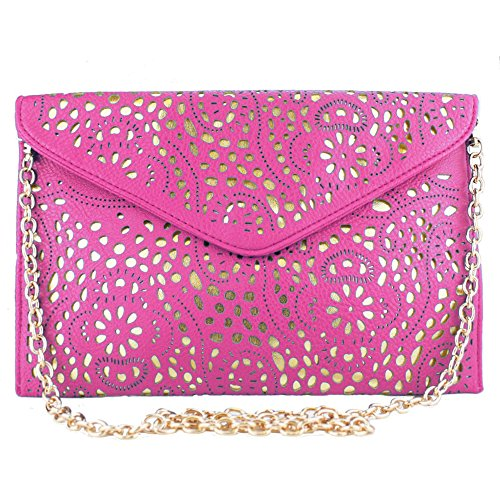 Laser Leather Cut Gold Ladies Bag Clutch Envelope Shoulder Vintage Rose Evening Chain Vincenza wEYqtSxE