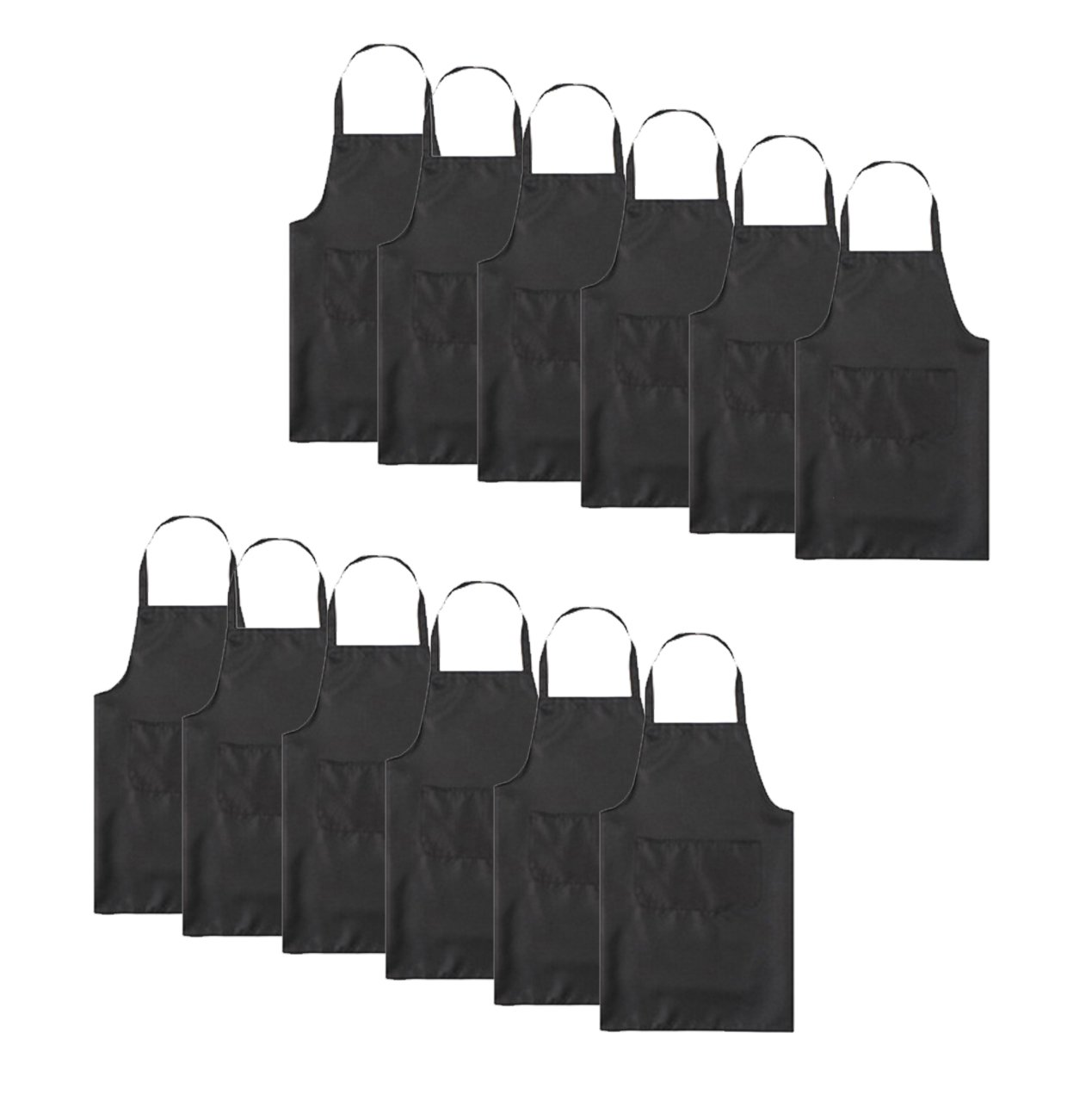 TSD STORY Total 12 PCS Plain Color Bib Apron Adult with 2 Front Pocket (Black)