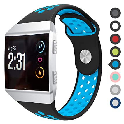 Meifox Compatible with Fitbit Ionic Bands,Soft Silicone Replacement Strap Accessory Breathable Wristbands for Fitbit Ionic Smart Watch (Black Blue, ...