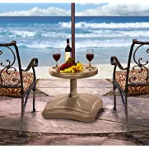Shademobile RU22-6050 Rolling Umbrella Stand and Accessory Table, Sand