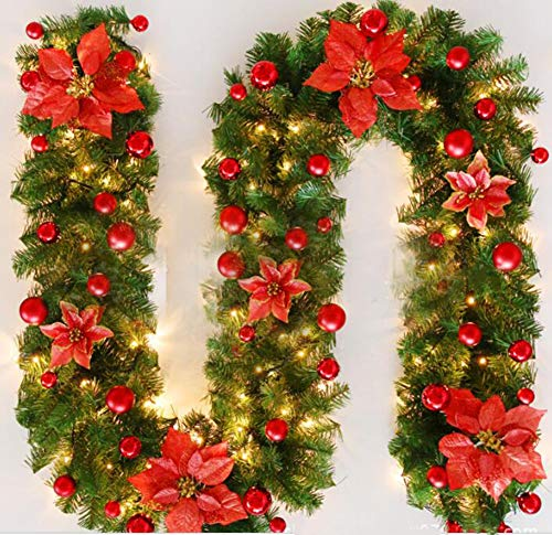 Apiosa 8.8 ft Christmas Rattan Garland Artificial Flower Vine Plants with LED Lights for Holiday Front Door Home Decoration (Red) from Apiosa