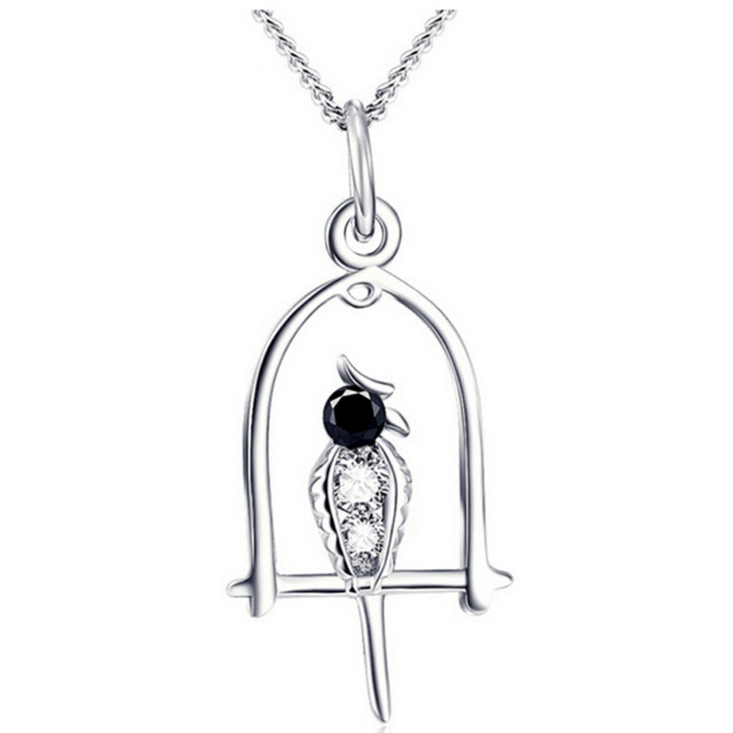 CS-DB Pendants Bird in Birdcage Design Silver Necklaces