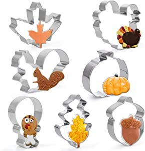 ZYTIN Fall Thanksgiving Cookie Cutters, 7 Piece -Turkey,Pumpkin,Maple/Oak Leaf,Squirrel and Acorn Shapes Stainless Steel Cookie Cutter Molds for Fondant, Cakes, Biscuits, and Sandwiches