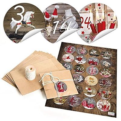 """'Juego de 24 bolsas de papel (10,5 x 15 cm), hilo de algodón y redondean Pegatinas """"Calendario de Adviento Números fotográfico Diseños; para manualidades o regalar.: Oficina y papelería"""