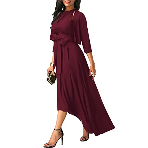 VIUVIU Women Summer 3/4 Sleeve Vintage Halter Asymmetrical Elegant Cocktail Maxi Dresses with Belt