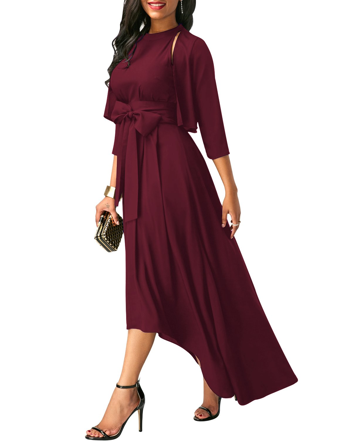 VIUVIU Dresses Women,Casual 3/4 Sleeve Maxi Dresses Party Wedding Belt Wine red XL
