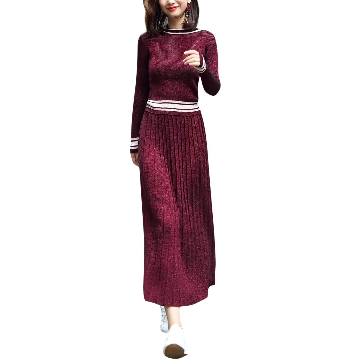 Suéter de canalé Acanalado a Rayas de Cintura Alta Swing Maxi ...