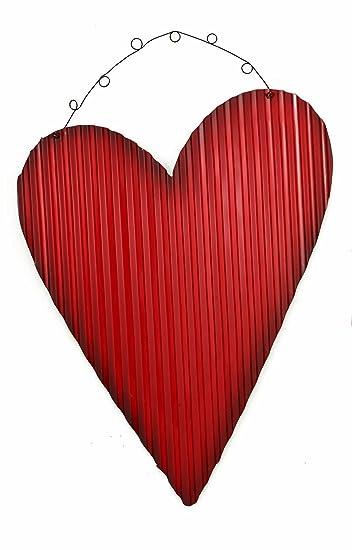 Amazon Com Rustic Red Tin Corrugated Metal Hearts Hanging