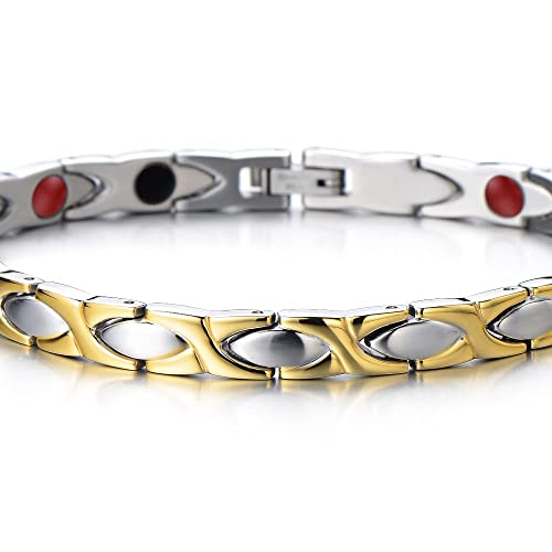 Amazon.com: Magnetic Link Bracelet For Women Stainless Steel With ...