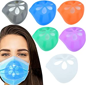 3D Face Bracket for Mask Inner Support Frame - YHZFS 6 Pack Food Grade Silicone Mask Bracket Support For More Breathing Space Lipstick Protection Facial Skin Care Resistant Washable Reuseful